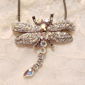 BEAUTIFUL Dragonfly Necklace Aurora Borealis